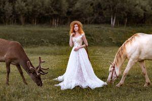 portrait depth of field white dress dress redhead animals women horse model straw hat women outdoors deer women with hats nipples through clothing