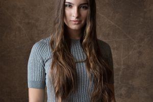 portrait dmitry sn dmitry shulgin grey sweater brunette women long hair