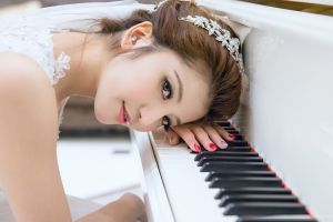 portrait face piano painted nails model photography brides asian wedding dress women hair ornament musical instrument
