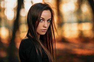 portrait face women brunette long hair
