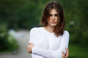 portrait freckles women outdoors women maksim romanov arms crossed