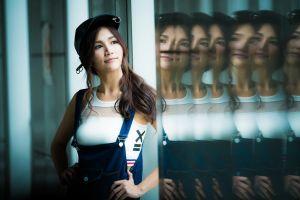 portrait hands on hips brunette baseball caps asian overalls model white tops reflection women