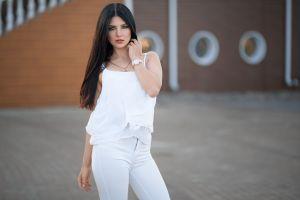 portrait kristina romanova women white clothing dmitry sn dmitry shulgin white nails necklace