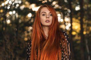 portrait long hair martin kühn women outdoors open mouth trees dyed hair looking at viewer women redhead