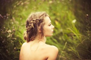 portrait looking into the distance depth of field blonde braids women outdoors bare shoulders model women