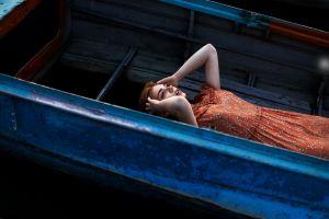 portrait model dress boat looking up women outdoors lying on back women juliana naidenova