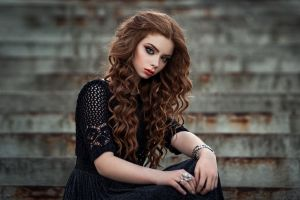 portrait model long hair rings makeup bracelets women brunette