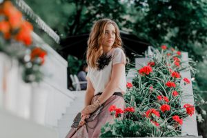 portrait model looking into the distance women outdoors anna filonenko brunette flowers depth of field women