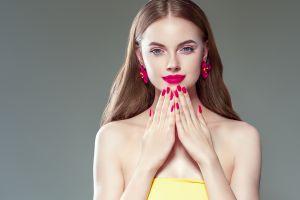 portrait model painted nails women makeup brunette simple background