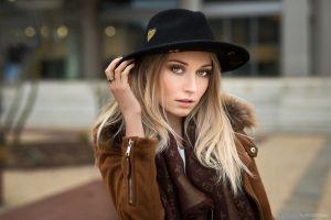 portrait straight hair millinery kim lods franck brown coat overcoats black hat women brown jacket women with hats jacket hat model blonde