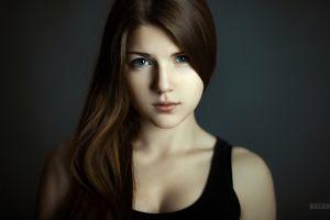 portrait tank top blue eyes looking at viewer long hair brunette black tops anton zhilin women