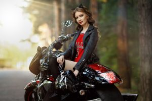 portrait trees cat ears looking at viewer bodysuit sitting depth of field leather jackets women model knee-highs smiling thigh-highs motorcycle brunette