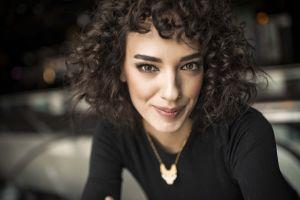 portrait turkish actress women curly hair face