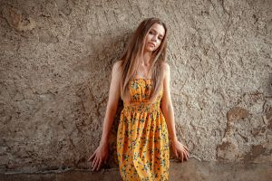 portrait women yellow dress blonde wall dress