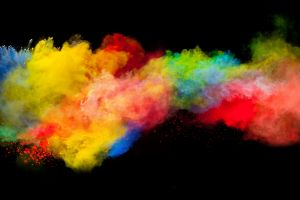 powder explosion black splashes powder colorful