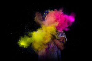 powder explosion colorful dark
