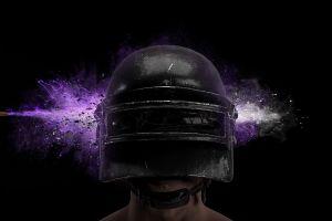 pubg video games purple bullet pc gaming helmet simple background