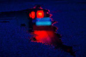 puddle lights water splash asphalt