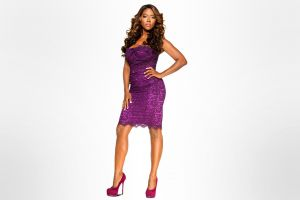 purple dresses brunette hands on hips simple background high heels dress ebony