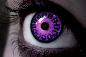 purple eyes purple macro closeup eyes clocks
