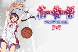 purple hair white kanbaru suruga artwork sportswear anime girls monogatari series basketball anime white background dark hair