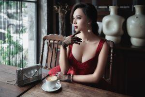 purses asian brunette coffee pearl earrings dress cleavage gloves model women women indoors looking away necklace