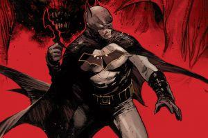 red background artwork batman