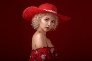 red background curly hair red lipstick women model cali bare shoulders simple background alexandr chuprina victoria sokolova hat women with hats portrait blonde crop top