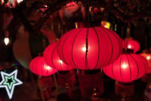 red christmas lights night