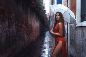 red dress women outdoors women with umbrella brunette women umbrella viktoria stephanie stefan häusler