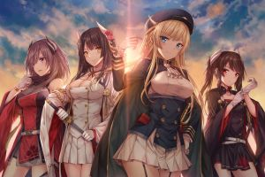 red eyes gloves azur lane clouds sky lens flare brunette drawing uniform yellow eyes group of women illustration berets cleavage anime