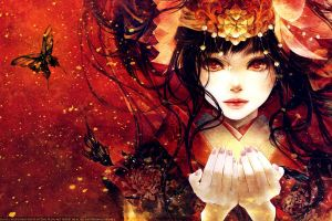 red eyes painted nails 2015 (year) anime hands face dark hair anime girls