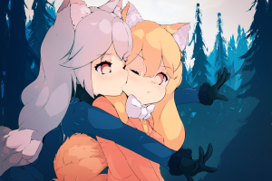 red fox (kemono friends) anime girls kemono friends anime silver fox (kemono friends)