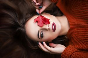 red leaves sweater top view women model portrait brunette red lipstick brown eyes leaves face maksim romanov makeup