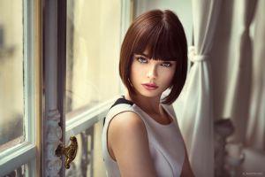 red lipstick face marie grippon women indoors women model portrait marie (500px) short hair straight hair 500px brunette lods franck