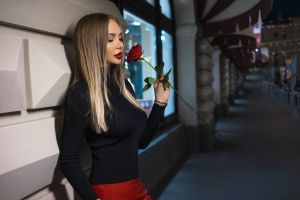 red lipstick public red skirt red nails women rose blonde women outdoors black sweater