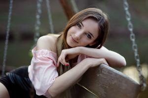 red nails pink tops portrait women sitting blue eyes smiling bare shoulders