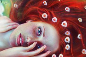 redhead flower in hair artwork women face