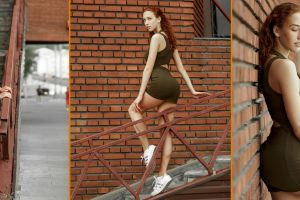 redhead legs stairs wall collage model tight dress bricks urban women outdoors ass women minidress alexey polskiy