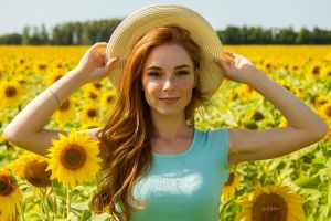 redhead looking at viewer sunflowers freckles depth of field model portrait hat women outdoors women yellow flowers kirill zakirov straw hat smiling women with hats