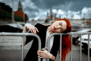 redhead red lipstick model portrait women women outdoors andrey metelkov freckles looking at viewer jacket outdoors bokeh