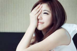 redhead smiling eyeliner photography portrait eyeliner model face women asian hand on face covered face