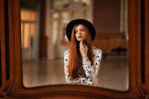 redhead women indoors model women with hats reflection touching face women mirror long hair black hat depth of field portrait