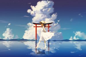 reflection clouds barefoot sky anime anime girls dress water white dress torii outdoors