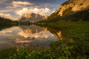 reflection mountains nature landscape water