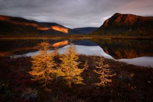 reflection sunset maxim evdokimov mountains clouds landscape photography russia fall trees nature mirrored lake