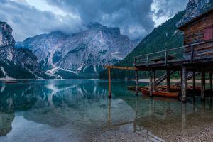 reflection water boat lake mountains nature