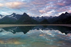 reflection water mountains landscape nature