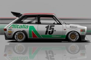 render italian cars fiat axesent creations side view race cars