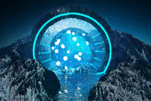 render mountains cinema 4d cyan blue abstract cube landscape stars 3d abstract